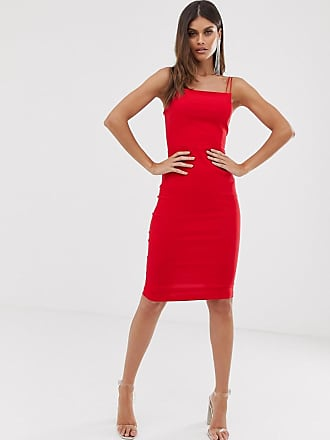a4d766b516e7 Vesper square neck midi dress with double straps in red - Red