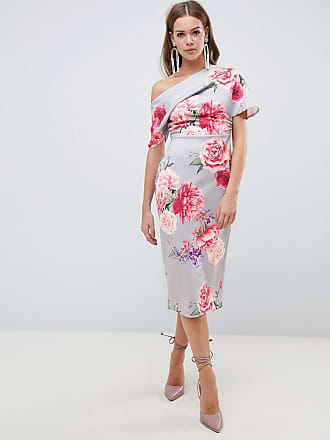 Asos pleated shoulder pencil dress in large floral - Multi fadf451a4
