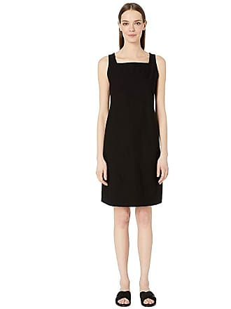 Eileen Fisher Washable Stretch Crepe Square Neck Knee Length Dress (Black) Womens Dress