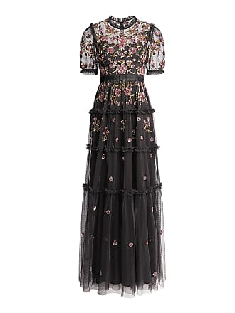 Needle & Thread Carnation Floral Sequin Maxi Dress Black