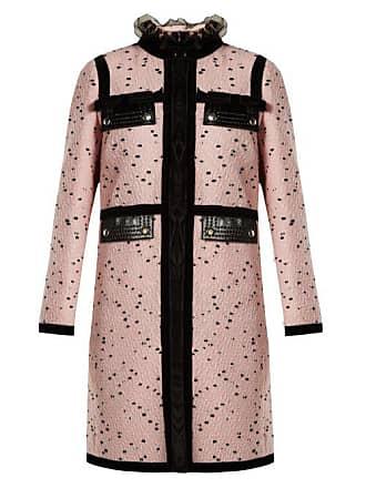 Giambattista Valli Velvet Trimmed Bouclé Tweed Coat - Womens - Pink