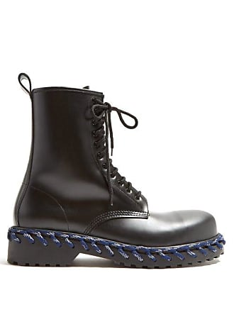 8f48b7f565e21 Balenciaga Leather Boots With Lacing Detail - Mens - Black