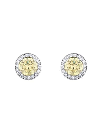 Fantasia 18kt White Gold Antique Canary Stud Earrings
