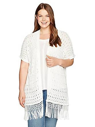 Jones New York Womens Plus Size Extend SLV Long Open Frt Cardigan, White, 1X