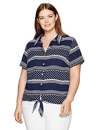 Alfred Dunner Womens Petite Stars and Stripes Tie Front Blouse, Navy, 6P