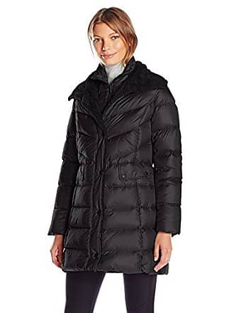 Kenneth Cole Womens Puffer Coat with Faux Shearling Collar, Black, X-Small