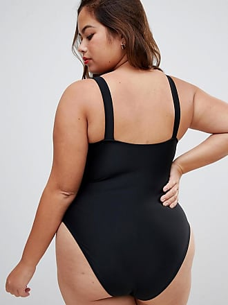 d3f8b73b09c37 Asos Curve ASOS DESIGN curve v front ruched detail swimsuit in black - Black