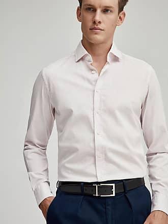 Hackett Mens Fine Stripe Stretch Cotton Shirt   Small   Pink/White