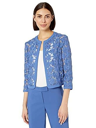 Anne Klein Womens Floral LACE MESH Cardigan, rain Shadow, 16