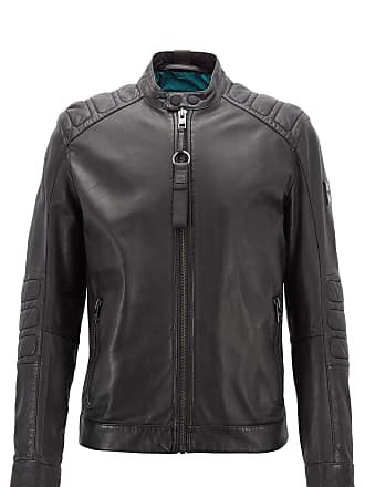 BOSS Slim-fit biker jacket in part-quilted leather
