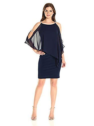 Xscape Womens Short Dress with Chiffon Overlay with Bead Trim, Lovely Navy 10