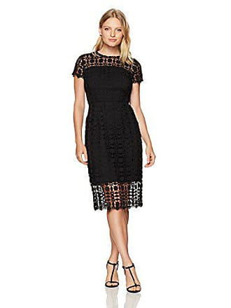 bcb081a753fd London Times Womens Petite Short Sleeve Round Neck Midi Lace Sheath Dress,  Black 6P