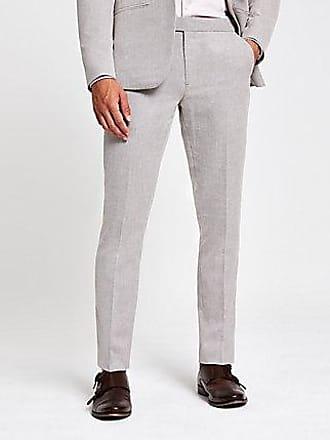 River Island Mens Ecru skinny suit pants