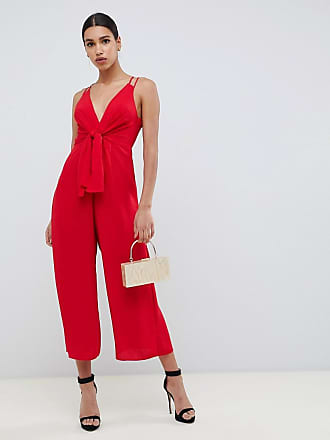 0f7eb8953b4 Asos jumpsuit with tie front and wide leg - Red