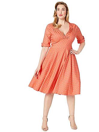 Unique Vintage Plus Size Pantone x Unique Vintage 1950s Delores Swing Dress with Sleeves (Coral/White Dot) Womens Dress