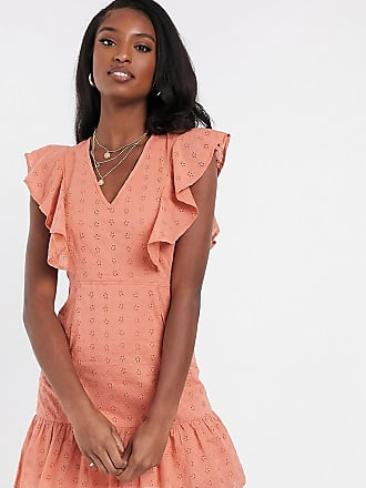 Influence Tall sleeveless broderie dress in tan-Brown