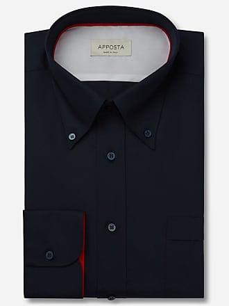 Apposta Shirt solid blue 100% pure cotton poplin, collar style high button-down collar