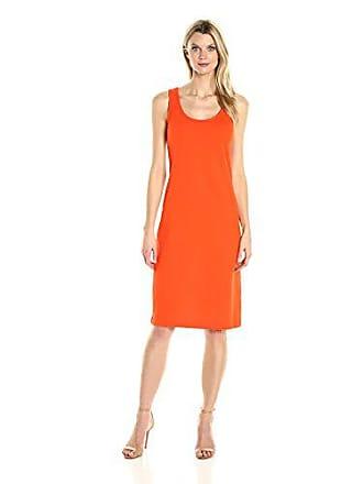 Joan Vass Womens Tank Stretch Pique Dress, Persimmon S