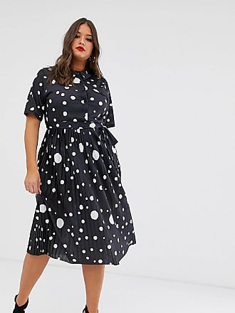 2149d432bdfe Asos Curve ASOS DESIGN Curve midi shirt dress with pleated skirt and belt  in spot print