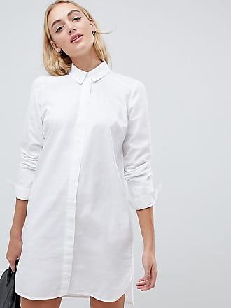 Asos Tall ASOS DESIGN Tall - Mini-Hemdkleid aus Baumwolle in Weiß