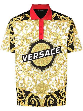 Versace baroque printed polo shirt - Black
