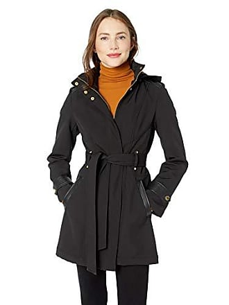 Via Spiga Womens Belted Soft Shell Hooded Jacket with Faux Leopard Lining, Jet Black, X-Large