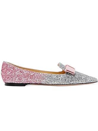 33d30f6530 Jimmy Choo London Gala Grosgrain-trimmed Dégradé Glittered Leather Point-toe  Flats - Baby