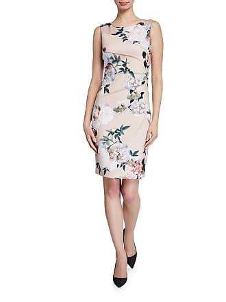 Iconic American Designer Starburst Shirred Floral Crepe Sheath Dress