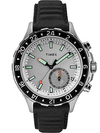 Timex Watch Mens Iq+ Move Multi-Time 43MM Leather Strap Silver-Tone/black/white Item Tw2R39500F5