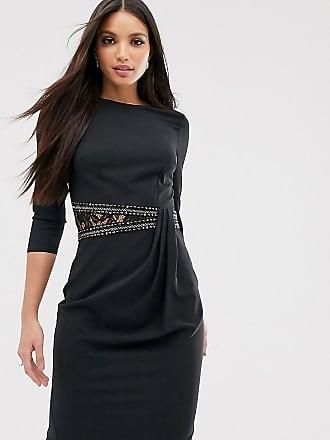 Little Mistress Tall long sleeve waist detail shift dress-Black