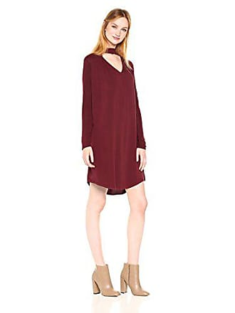 Michael Stars Womens Rylie Rayon Long Sleeve Mixed Media Choker Swing Dress, Bourbon, L