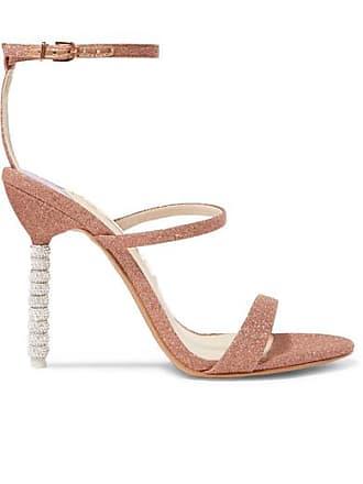 892587548cb Sophia Webster Rosalind Crystal-embellished Glittered Canvas Sandals -  Metallic