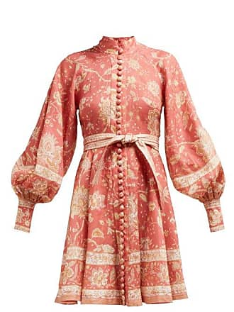 Zimmermann Veneto Border Floral Print Linen Dress - Womens - Red