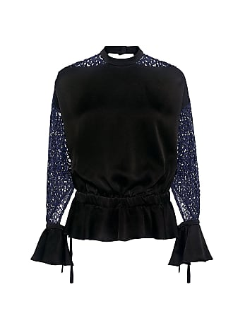 Marissa Webb Sullivan Open Back Ruffled Floral Lace Blouse Black Navy Combo