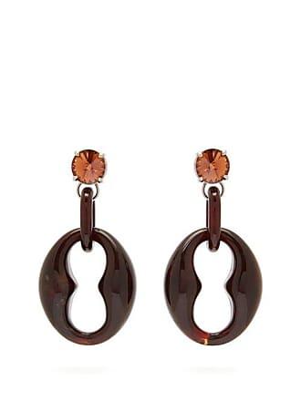 f3ad95634 Prada Crystal Embellished Drop Earrings - Womens - Dark Brown