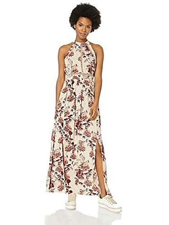 Angie Womens Halter Maxi Dress with Lace Insets, Latte, Medium