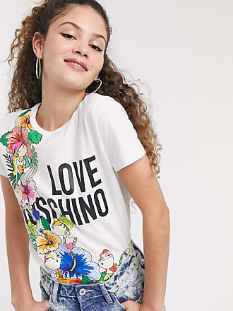 Love Moschino T-Shirt mit tropischem Blumenmuster und Logo-Weiß