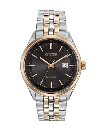 Zales Mens Citizen Eco-Drive Two-Tone Watch with Black Dial (Model: Bm7256-50E)