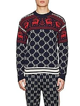 81a4052c11b1 Gucci Mens Fair Isle-   GG-Pattern Wool Sweater - Navy Size S
