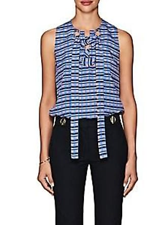 9227239ca9d5c Derek Lam Womens Lace-Up Mixed-Stripe Silk Blouse - Md. Blue Size