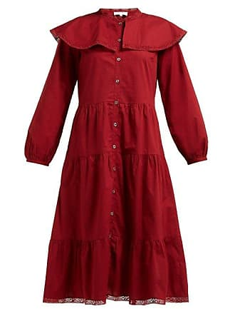 Sea New York Sailor Collar Tiered Cotton Midi Shirtdress - Womens - Red