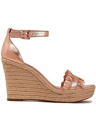 c7bdaf22bd4e46 Michael Kors Michael Michael Kors Woman Ruffled Metallic Leather Espadrille  Wedge Sandals Rose Gold Size 7.5