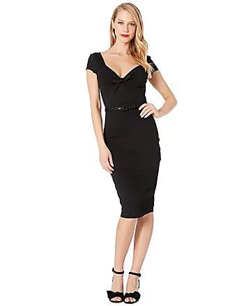 Unique Vintage 1950s Sweetheart Stretch Knit Dianne Wiggle Dress (Black) Womens Dress