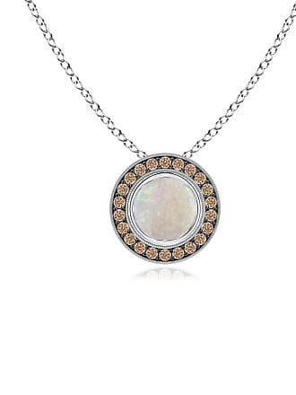 Angara Valentine Day Sale - Bezel-Set Opal Pendant with Coffee Diamond Halo
