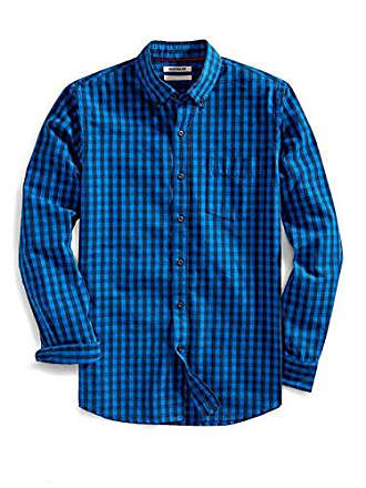 Goodthreads Mens Slim-Fit Long-Sleeve Gingham Slub Shirt, Blue True, Large