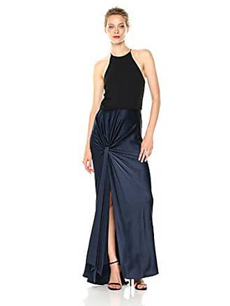 499999247055 Halston Heritage Womens Sleeveless High Neck Satin Gown with Twist Drape  Skirt, Dark Navy/