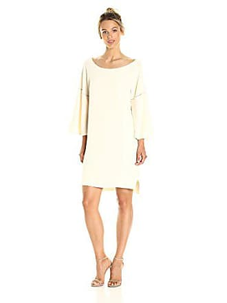 a0f197066ef6 Halston Heritage Womens Flounce Sleeve Wide Boatneck Dress with Emboridery  Detail, Cream, M