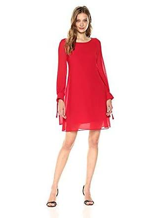 Taylor Dresses Womens Crepe and Chiffon A Line Swing Dress, Crimson, 8
