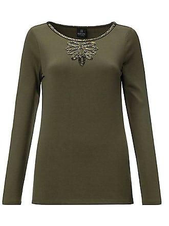 Madeleine Seide Langärmeliges Rundhals-Shirt mit Zierperlen Damen khaki    grün b3d88d8e34
