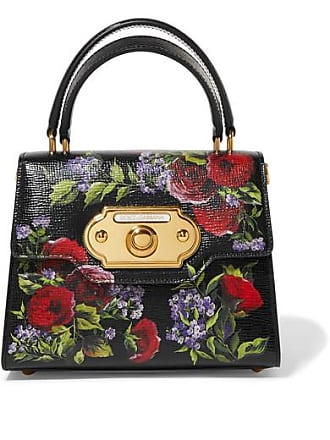 408a4648ffb Dolce & Gabbana Welcome Small Floral-print Lizard-effect Leather Tote -  Black